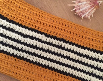Cowl / Crocheted Cowl / Mustard, Black & white cowl / Scarf