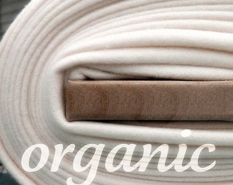 SALE Today Organic Cotton Fleece Half Yard Natural Eco Friendly Baby-Soft Fabric Domestically Made GOTS Certified Wide Ivory White Cream