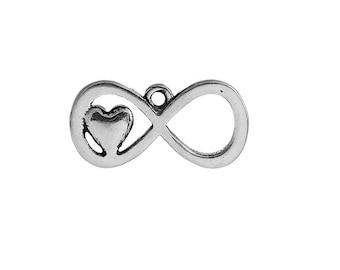 SET of 3 infinity symbol (E78) silver love heart charm