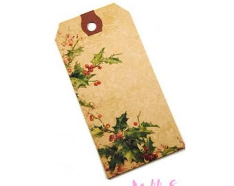 "Set of 2 ""Holly"" Christmas tags labels scrapbooking card making *."