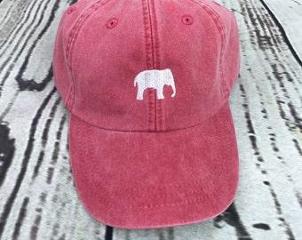 Elephant hat, Elephant baseball hat, Elephant baseball cap, pigment dyed hat, Gameday hat, Alabama hat