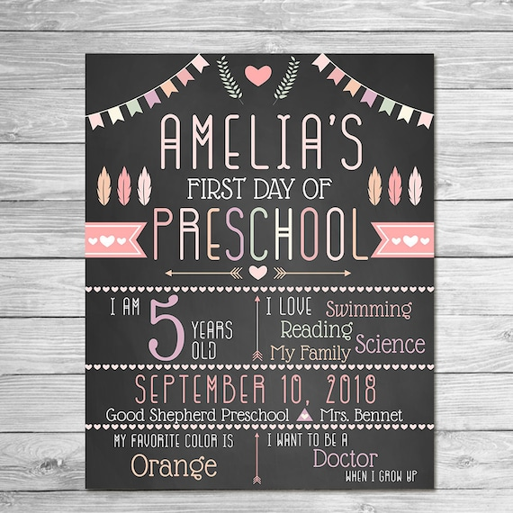 First Day of School Sign Printable Photo Prop - First Day of Kindergarten ANY GRADE - Personalized Back to School - Chalkboard Feather Arrow