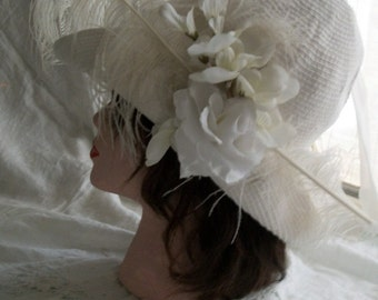 1920s Flapper Style Cloche Hat Woven Cotton Orig Design Wedding