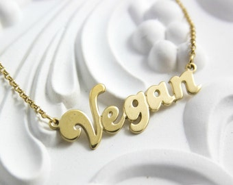 Vegan Necklace Gold filled Vegan Pendant Gold Filled Vegan Nameplate Gold Necklace Vegan Gold Necklace Vegan Chain Namenecklace Vegan