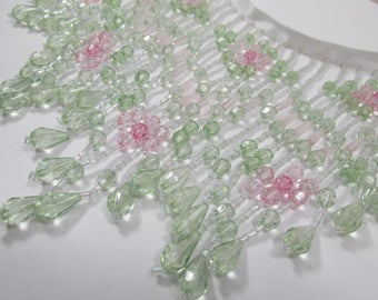 Rose Garden 6 inch Long Beaded Fringe Trim in Mint Green, Pale Pink, Rose and White Lamp or Decorator Trim in small increments