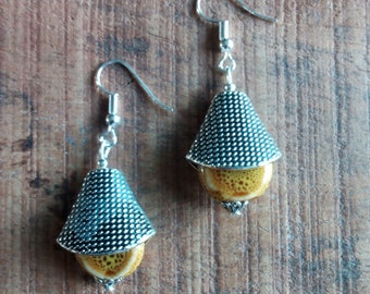 1438 - ethnic style, handcrafted ceramic and metal earrings