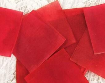 100 Pieces Vintage Red Wood Pulp Squares - Bulk - Bargain - Wholesale - REDUCED