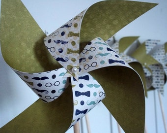 Dashing Boys' Party Decor. Mustaches Bowties Spectacles. 8 Spinning Paper Pinwheels.
