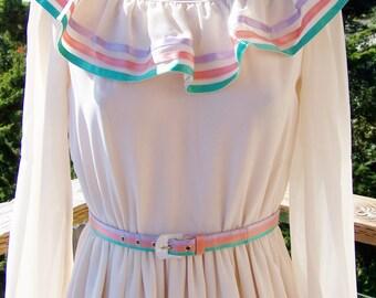Designer Dress, Party Dress, Adele Simpson dress, semi formal dress, Mother of the Bride, Long sleeve ivory dress, size S