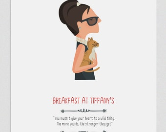 Illustration, Print, Breakfast at Tiffany's, Tutticonfetti, Wall art, Art decor, Hanging wall, Printed art, Decor home, Gift idea Sweet home