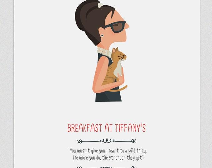 """Ilustración """"Desayuno con diamantes"""". Basada en la película de Blake Edwards."""