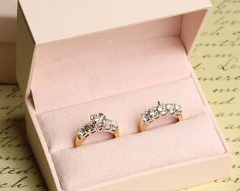 Double Engagement Wedding Ring Band Presentation Gift Box, Pastel Baby Pink