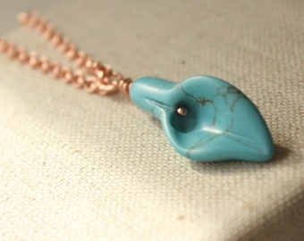 Turquoise calla lily necklace, flower pendant,  calla flower jewelry, calla wedding jewelry pendant, cala lily N489