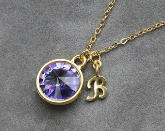 Gold Tanzanite Necklace, December Birthstone Jewelry, Personalized Initial, Custom Birthstone, Tanzanite Jewelry