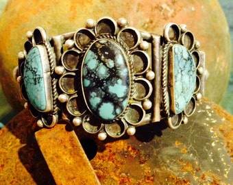 Vintage Genuine Sterling Silver and Turquoise Cuff