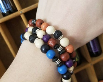Essential Oil Diffuser Bracelets with Painted Wood Beads Black Lava Beads