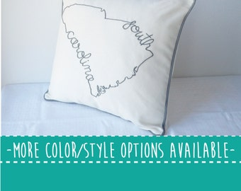 South Carolina State Embroidered  Decorative Throw Pillow Cover, United States Charleston USC Gift
