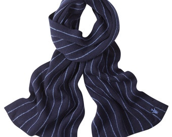 Navy pinstripe scarf. Merino wool, Knitted in Scotland