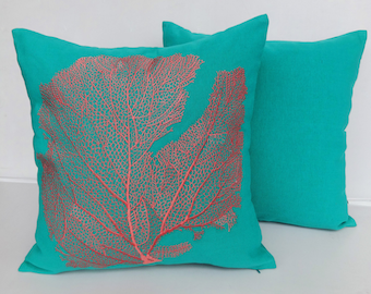 Sea Green Coral Pillow, Coral Decorative Pillow, Sea Green Pillow, Throw Pillow, Accent Pillow, Coral Branch Pillow, Sea Throw Pillows