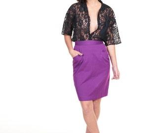 SALE Rad 1980s Liz Claiborne Purple Pencil Skirt