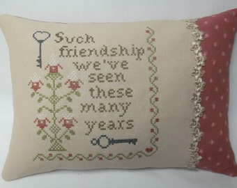 Friend Pillow Cross Stitch Decorative Pillow, Gift For Friend, Longtime Friend