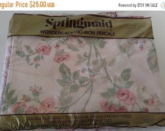 On Sale Springmaid Wondercale, Double Flat Sheet, Vintage and NEW, Cottage Chic, Pastel Rose/Green/Lavender, Polyester/Cotton, Floral Print