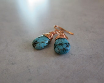 Turquoise and Copper Teardrop Earrings