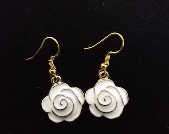 White Rose flower Floating Enamel Gold filled earring Fashion Jewelry