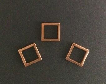 25pcs Rose Gold filled Square Charm Link 8mm , rose Gold Geometric Square Charms , rose Gold Square Link , rose Gold fill geometric charms