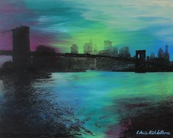 Brooklyn Bridge-Maroon, Green and Blue Screen Print on Wood