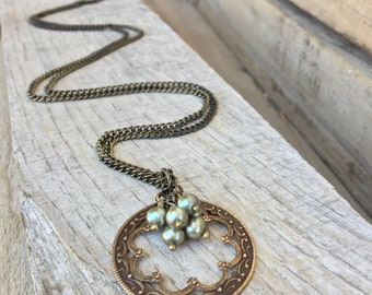 Open natural brass pendant with sage green freshwater pearls, long cluster necklace, vintage style necklace