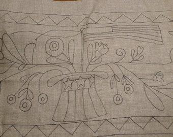 primitive rug hooking pattern on linen