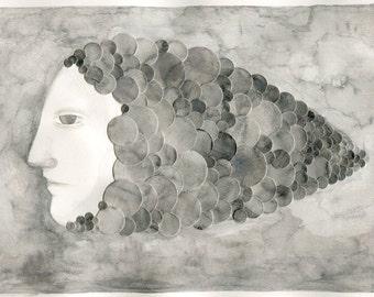 Original mixed media drawing - Fish breathing