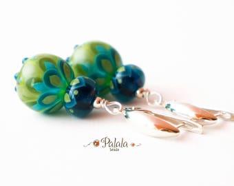 Handmade Earrings With Lampwork Beads,  Sterling Silver Earrings with lampwork beads, Glass Lampwork Earrings, Artisan Jewelry