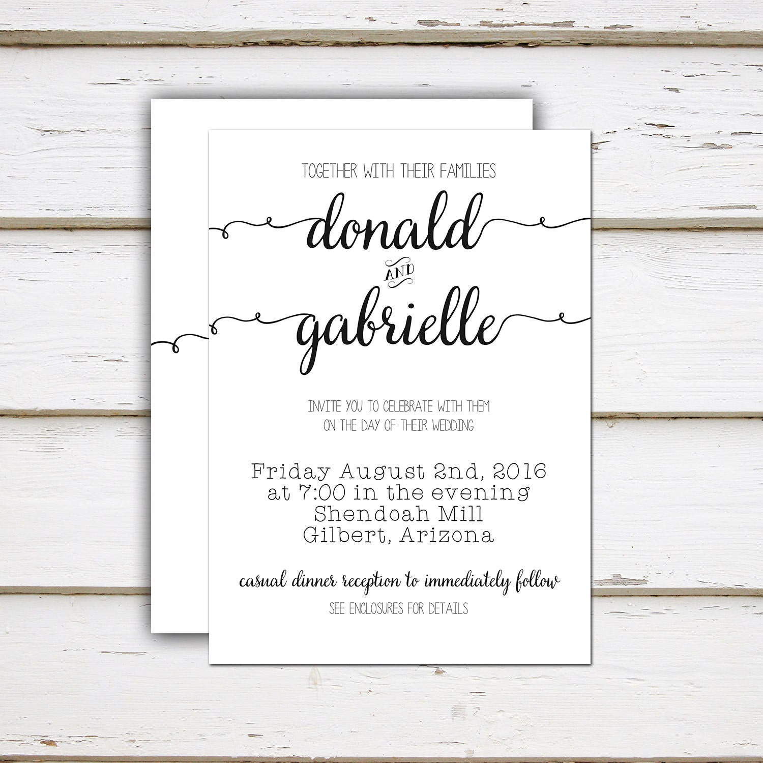 Printable Simple Wedding Invitation, Casual, Calligraphy, Black and ...