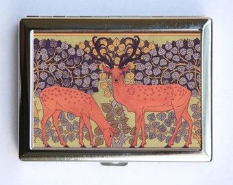 Art Nouveau Deer Cigarette Case Wallet Business Card Holder
