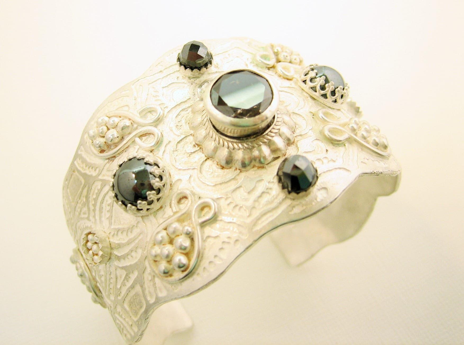 Handmade one of a kind sterling silver cuff bracelet, etched silver artisan bracelet, heirloom wide statement cuff bracelet with gemstones