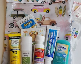 Hit The Beach Surfboards Clear Front Tote XXL 8x10 for Sunscreen Lipbalm Diapers Medical First Aid Summer Vacation Inhaler/Spacer Epi Pens