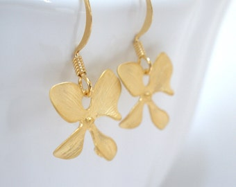 Gold Flower Earrings, Matte Finished, Orchid Four Petal Flower, Orchid Earrings, Weddings, Bridesmaid Earrings, Bridesmaid Gifts