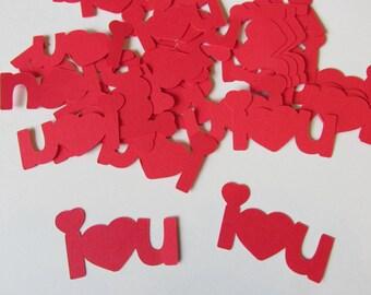 I love you confetti, I heart You embellishments, party decor  (100 count)