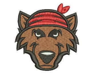 wolf with bandana embroidery design