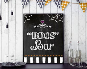 Halloween Bar Decor, BOOS Bar | Printable Halloween Decor