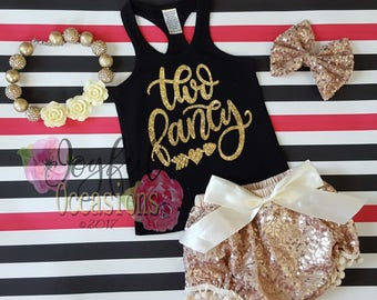 2nd Birthday Outfit With Shorts - Cute 2 Pc Black and Gold Two Fancy Sequin Birthday Bloomers Set For Two Year Old Toddler Girls Tank Tshirt
