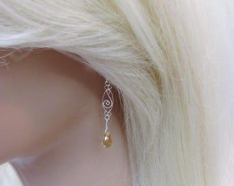 Citrine Earrings in Sterling Silver, Filigree Earrings, November Birthstone Jewelry, Citrine Briolettes, Long Earrings, Yellow Gemstone