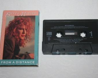 Vintage Music Cassette Single Tape, Bette Midler, From A Distance, One More Round, 1990