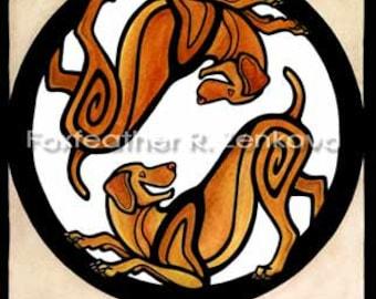 Yin Yang Vizsla Art Painting Print - Wall art, Giclee, totem, yin-yang, circle, breed, dog, hunting, Hungarian, pointer