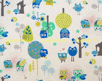 L398A - 140cmx100cm  Cotton Linen Fabric - Curtain Bag Home Decor Fabric -  Owls, Leaf, Flowr, Tree,Heart (Blue)