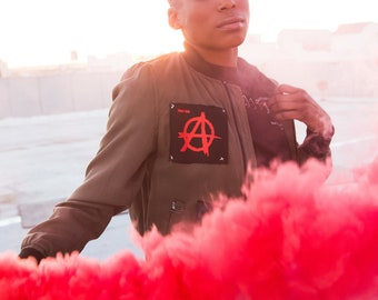 Red Anarchy Rebellion Bomber Jacket