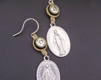 Religious Earrings, Virgin mary Earrings, Blessed Mother Earrings, Vintage Assemblage, Catholic Medal Jewelry
