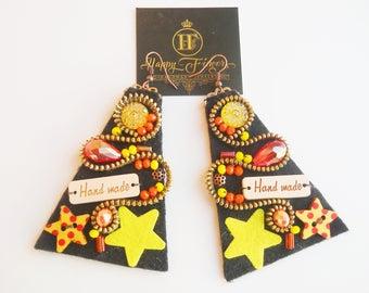 Colorful earrings Zipper Earrings Hippie earrings Hippie Gift Christmas gift Felt earrings Multicolor earrings Boho Earrings Hippie Jewelry